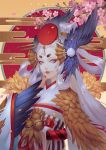 1girl bell black_feathers eyeshadow facepaint feathers hair_rings head_wings headgear japanese_clothes jingle_bell kimono lavender_eyes lipstick long_hair looking_at_viewer makeup obi onmyoji red_lipstick rororei sash short_eyebrows ubume_(onmyoji) upper_body very_long_hair white_hair white_kimono wings