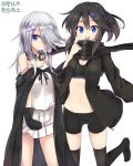2girls :d amano_kouki bangs bare_shoulders bike_shorts black_bra black_cape black_gloves black_hair black_hoodie black_sclera black_shorts blue_eyes blush borrowed_character bra breasts camisole cape character_request cleavage eyebrows_visible_through_hair gloves goggles goggles_around_neck groin hair_between_eyes hair_ornament hair_over_one_eye hairclip highres hood hoodie long_hair long_sleeves looking_at_viewer medium_breasts multiple_girls navel open_clothes open_hoodie open_mouth original pleated_skirt shorts simple_background skirt smile strap_slip training_bra translation_request underwear white_background white_camisole white_skirt