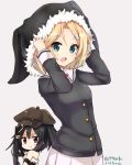 2girls :d amano_kouki arm_up bangs bare_shoulders black_dress black_gloves black_hair black_hat black_shirt blonde_hair blue_eyes blush borrowed_character breasts brown_background brown_hat character_request closed_mouth deerstalker dress elbow_gloves eyebrows_visible_through_hair fingerless_gloves fur-trimmed_dress fur-trimmed_hat gloves hair_between_eyes hair_ornament hairclip hat headwear_switch highres long_hair long_sleeves looking_at_viewer medium_breasts mole mole_under_eye multiple_girls note-chan open_mouth original pleated_skirt shirt side_ponytail simple_background skirt smile strapless strapless_dress translation_request v-shaped_eyebrows violet_eyes white_skirt