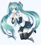 1girl aqua_hair bangs boots detached_sleeves eyebrows_visible_through_hair full_body green_eyes hatsune_miku highres long_hair looking_at_viewer nail_polish necktie open_mouth pleated_skirt simple_background skirt smile solo steepled_fingers takashina_taaa thigh-highs thigh_boots twintails very_long_hair vocaloid white_background