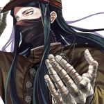 1boy bandage bandaged_hands black_hair boots danganronpa hat holding holding_mask long_hair looking_at_viewer male_focus mask new_danganronpa_v3 nochita_shin school_uniform shinguuji_korekiyo solo yellow_eyes