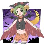 1girl :d alternate_costume animal_hat ballpoint_pen_(medium) bell black_vest cape cat_hat cowboy_shot crescent_moon dejiko di_gi_charat fangs fujiwara_tatsuro green_eyes green_hair hair_bell hair_ornament halloween halloween_costume hat jack-o'-lantern jingle_bell moon open_mouth orange_shorts out_of_frame outstretched_arms popped_collar short_hair short_shorts shorts sleeveless smile solo spread_arms thigh-highs traditional_media vest wrist_cuffs zettai_ryouiki