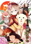 1girl :3 animal animal_ears animal_hug animal_mittens bangs beanie black_legwear blush brown_hat capelet closed_mouth coat commentary_request dog dog_ears dog_girl dog_tail eyebrows_visible_through_hair flower fur-trimmed_capelet givuchoko green_eyes hair_between_eyes hair_flower hair_ornament hat head_tilt light_brown_hair long_sleeves looking_at_viewer looking_to_the_side mittens orange_skirt original pantyhose pink_flower pleated_skirt purple_flower red_mittens short_hair sitting skirt solo tail tongue tongue_out wariza yellow_capelet yellow_coat