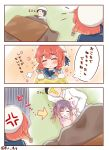 1boy 2girls admiral_(kantai_collection) angry beret blush closed_eyes etorofu_(kantai_collection) hat highres japanese_clothes kantai_collection kimono kotatsu multiple_girls purple_hair redhead ridy_(ri_sui) sleeping table translation_request tsushima_(kantai_collection) yukata