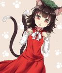 1girl :o animal_ears brown_hair cat_ears cat_tail chen chinese_clothes coraman green_hat hands_up hat jewelry long_sleeves looking_at_viewer medium_hair multiple_tails paw_background red_eyes red_skirt single_earring skirt skirt_set slit_pupils solo tail touhou two_tails vest white_neckwear