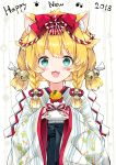 1girl 2018 :3 :d animal_ears bangs bell black_hakama blonde_hair blue_eyes blush bone_print bow braid commentary_request dog_ears eyebrows_visible_through_hair fang food hair_bow hair_ornament hair_ribbon hakama highres holding holding_food japanese_clothes jingle_bell juna kagami_mochi kimono looking_at_viewer low_twintails nengajou new_year open_mouth original paw_print red_bow ribbon short_kimono short_twintails smile solo striped thick_eyebrows twin_braids twintails vertical-striped_kimono vertical_stripes white_kimono white_ribbon year_of_the_dog