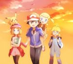 2boys 2girls animal animal_on_head back backpack bag bandaid bandaid_on_knee black_hair black_legwear blonde_hair blue_eyes blush brother_and_sister carrying citron_(pokemon) eureka_(pokemon) glasses hat jumpsuit mary_janes multiple_boys multiple_girls on_head open_mouth piggyback pikachu pokemon pokemon_(anime) pokemon_(game) pokemon_xy satoshi_(pokemon) serena_(pokemon) shoes short_hair siblings side_ponytail smile sunset thigh-highs walking