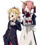 2girls apron blonde_hair butler closed_eyes cup drinking_glass fate/apocrypha fate_(series) frankenstein's_monster_(fate) gloves hand_in_pocket highres holding holding_tray horn juliet_sleeves long_sleeves maid mordred_(fate) mordred_(fate)_(all) multiple_girls open_mouth pink_hair puffy_sleeves short_hair tray uotsu_(sabakou) white_background white_gloves wine_glass