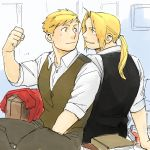 2boys alphonse_elric back-to-back blonde_hair book brothers clenched_hand coat edward_elric eyebrows_visible_through_hair formal fullmetal_alchemist long_hair long_sleeves looking_at_another male_focus multiple_boys nore_(boosuke) ponytail shirt short_hair siblings smile waistcoat white_shirt yellow_eyes