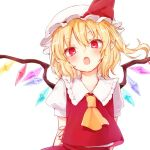 1girl ascot blonde_hair fang fingernails flandre_scarlet hat hat_ribbon head_tilt honotai looking_at_viewer medium_hair mob_cap open_mouth pointy_ears puffy_short_sleeves puffy_sleeves red_eyes red_ribbon red_skirt ribbon short_sleeves simple_background skirt skirt_set solo touhou vest white_background white_hat wings yellow_neckwear