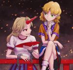 2girls blonde_hair chin_rest cuffs cup green_eyes horn hoshiguma_yuugi legs_crossed long_hair looking_at_another meimaru_inuchiyo mizuhashi_parsee multiple_girls pointy_ears red_eyes sakazuki scarf short_hair sitting skirt touhou