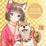 1girl 2018 animal_ears bangs blue_eyes blush brown_hair closed_mouth commentary_request dog dog_ears eyebrows_visible_through_hair flower hair_flower hair_ornament happy_new_year head_tilt highres japanese_clothes kimono lips looking_at_viewer nengajou new_year original pink_kimono saruchitan shiba_inu short_hair smile solo translated year_of_the_dog