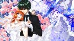 1boy 1girl asuka_daiki bare_shoulders blue_eyes bridal_veil bride couple dress flower formal gloves green_eyes green_hair groom hair_flower hair_ornament haneoka_meimi hetero highres husband_and_wife jewelry kaitou_saint_tail long_hair necklace orange_hair pearl rose ruby_(kaitou_saint_tail) sptuel suit veil wedding wedding_dress white_gloves