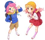 2girls :d aikatsu! aikatsu_stars! backpack backwards_hat bag bandaid bandaid_on_nose bangs baseball_cap blonde_hair blue_eyes blush brown_shorts bucket_hat closed_mouth crime_prevention_buzzer eyebrows_visible_through_hair eyelashes full_body gradient_hair hand_on_hip hand_up hat highres hood hood_down hoodie kindergarten_uniform long_sleeves looking_at_viewer multicolored_hair multiple_girls nijino_yume one_eye_closed open_mouth pink_hair pink_legwear pointing pointing_at_self randoseru red_eyes red_skirt sakuraba_rola school_hat sekina shoes short_hair shorts simple_background skirt smile socks v-shaped_eyebrows white_background white_legwear yellow_hat
