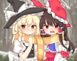 2girls ascot blonde_hair blouse blue_neckwear blush bow braid brown_hair cheunes commentary detached_sleeves embarrassed expressive_clothes hair_bow hair_ribbon hair_tubes hakurei_reimu hat hat_bow hat_ribbon highres kirisame_marisa large_bow long_hair long_sleeves multiple_girls outdoors puffy_short_sleeves puffy_sleeves red_eyes ribbon scarf shared_scarf short_sleeves side_braid single_braid smile snow snowing striped striped_scarf touhou vest wide_sleeves witch_hat yellow_eyes yuri