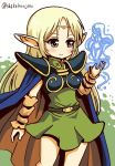 1girl belt blonde_hair blue_cape blush bracer brown_cape cape chibi circlet closed_mouth commentary_request cowboy_shot deedlit dot_nose dress elf green_dress green_eyes hand_up long_hair magic multicolored multicolored_cape multicolored_clothes pointy_ears record_of_lodoss_war shake-o smile solo spaulders standing twitter_username