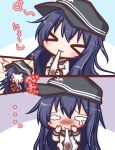 >_< ... /\/\/\ 1girl :3 akatsuki_(kantai_collection) anchor_symbol bangs black_hat blush closed_eyes closed_mouth comic commentary_request eating eyebrows_visible_through_hair flat_cap food hair_between_eyes hat holding holding_food in_the_face kantai_collection komakoma_(magicaltale) long_hair long_sleeves mochi neckerchief purple_hair red_neckwear school_uniform serafuku shirt teardrop translation_request very_long_hair wagashi white_shirt