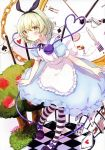 1girl absurdres ace_of_hearts alice_(wonderland) alice_(wonderland)_(cosplay) alternate_costume apron black_footwear black_legwear black_ribbon blue_dress blush card checkered checkered_floor clock club_(shape) cosplay diamond_(shape) dress english flower green_eyes green_hair hair_ribbon heart heart_of_string highres honotai komeiji_koishi looking_at_viewer playing_card red_flower red_rose ribbon rose scan shoes short_sleeves solo spade_(shape) standing striped striped_legwear third_eye touhou tree