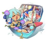 1girl =_= ball barefoot blue_hair blush bottle brush bubble chibi cirno closed_eyes commentary_request dripping fish flower food hair_flower hair_ornament in_container jewelry light_bulb locket milk_carton moyazou_(kitaguni_moyashi_seizoujo) open_mouth paintbrush pencil pendant popsicle purple_flower shadow short_hair sleeveless solo spaghetti_strap suitcase sweat tan tanline tanned_cirno tape tennis_ball touhou watermelon_bar white_background