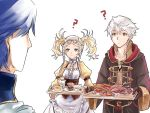 1girl 2boys 2girls artist_request blonde_hair blue_eyes blue_hair brother_and_sister candy dress fire_emblem fire_emblem:_kakusei food gloves hair_ornament krom liz_(fire_emblem) long_hair male_my_unit_(fire_emblem:_kakusei) meat multiple_boys multiple_girls my_unit_(fire_emblem:_kakusei) short_hair short_twintails siblings smile twintails white_background white_hair