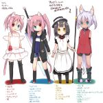4girls :d amano_kouki animal_ears arms_at_sides bangs bare_shoulders bike_shorts black_dress black_footwear black_hair black_hat black_hoodie black_legwear black_shorts blue_eyes blue_shorts blue_swimsuit blunt_bangs blush_stickers boots broken broken_chain cat_ears cat_girl cat_tail chains closed_mouth collarbone commentary_request covered_navel cutoffs dark_skin denim denim_shorts detached_sleeves drawstring dress eyebrows_visible_through_hair fang glaive green_eyes green_footwear hair_between_eyes hat heterochromia highres holding holding_sword holding_weapon hood hood_down hoodie huge_weapon kneehighs long_hair long_sleeves looking_at_viewer mini_wings multiple_girls oni_horns open_clothes open_fly open_hoodie open_mouth original over-rim_eyewear pigeon-toed pink_hair pocket puffy_short_sleeves puffy_sleeves red-framed_eyewear red_eyes red_sweater ribbed_sweater semi-rimless_eyewear short_shorts short_sleeves shorts silver_hair smile standing strapless strapless_dress sweater swimsuit swimsuit_under_clothes sword tail thigh-highs thigh_boots translation_request twintails weapon white_background white_dress white_legwear white_wings wings wolf_ears wolf_girl wolf_tail wrist_cuffs yellow_eyes