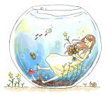 1girl blush bubble dress fish fishbowl long_hair lowres mushroom original oyaji_cha sandals sleeveless sleeveless_dress smile snail solo star submerged sundress underwater yellow_dress
