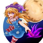 1girl american_flag_dress american_flag_legwear bare_arms blonde_hair clownpiece fairy_wings fire hat highres holding jester_cap long_hair looking_at_viewer moon neck_ruff open_mouth pantyhose polka_dot purple_hat sharp_teeth short_sleeves smile solo teeth torch touhou wings yasui_nori