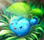 alternate_color blue_eyes cherubi dew_drop grass highres looking_at_viewer metalmorag no_humans outdoors pokemon shiny_pokemon solo water_drop