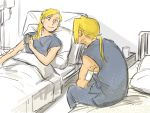2boys alphonse_elric bandage bed bed_sheet blonde_hair brothers edward_elric fullmetal_alchemist glass grey_shirt long_hair looking_at_another lying male_focus multiple_boys nore_(boosuke) pillow ponytail shirt siblings sitting smile yellow_eyes