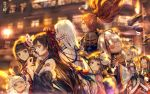 3boys 6+girls bangs black_hair blunt_bangs building character_request crying detached_sleeves eating flower flying from_side hair_flower hair_ornament horn horns japanese_clothes kimono long_hair looking_at_another mask mask_on_head multiple_boys multiple_girls onmyoji open_mouth pink_lips say_hana smile spider_lily tattoo tears very_long_hair walking white_hair wide_sleeves wings yuki_onna_(onmyoji)