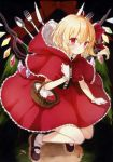 1girl absurdres alternate_costume apple bangs basket blonde_hair brown_footwear cosplay flandre_scarlet food fork fruit full_body gloves highres holding honotai knife little_red_riding_hood little_red_riding_hood_(cosplay) looking_at_viewer pointy_ears red_eyes scan shoes smile socks solo spoon touhou white_gloves white_legwear wings