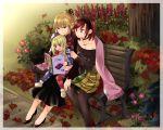 3girls adapted_costume american_flag_legwear bench black_dress black_footwear black_legwear black_sweater blonde_hair breasts child choker cleavage clownpiece collarbone commentary day dress floral_print flower hairband hat hecatia_lapislazuli holding junko_(touhou) long_sleeves magazine medium_breasts mimoto_(aszxdfcv) miniskirt motherly multicolored multicolored_clothes multicolored_skirt multiple_girls outdoors pantyhose pointing polka_dot purple_hat reading red_eyes redhead shoes sitting sitting_on_lap sitting_on_person skirt smile star star_print striped sweater tabard toe_cleavage touhou violet_eyes