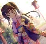1girl arrow bangs bell black_hair blush brown_eyes bush commentary_request dutch_angle ema eyebrows_visible_through_hair floral_print hamaya hatsumoude holding_arrow japanese_clothes jingle_bell kimono long_hair long_sleeves looking_at_viewer obi original outdoors parted_lips pink_kimono print_kimono purple_scarf sakusaku sash scarf solo sunlight sunrise twintails wide_sleeves