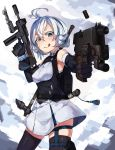 1girl :q antenna_hair backpack bag bangs bayonet belt black_gloves blue_eyes breasts casing_ejection contrapposto cowboy_shot dennou_shoujo_youtuber_shiro dress dual_wielding elbow_gloves finger_on_trigger framed_breasts gloves gun hair_between_eyes handgun highres holding holding_gun holding_weapon holster looking_at_viewer medium_breasts natori_youkai outstretched_arm pistol shell_casing shiro_(dennou_shoujo_youtuber_shiro) short_hair silver_hair sleeveless sleeveless_dress smile solo standing submachine_gun thigh-highs thigh_holster tongue tongue_out trigger_discipline underbust v-shaped_eyebrows weapon weapon_on_back weapon_request zettai_ryouiki