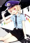 1girl absurdres alternate_costume bare_legs belt black_neckwear blonde_hair blue_hat flandre_scarlet gloves hair_between_eyes hand_up hat highres honotai looking_at_viewer medium_hair miniskirt necktie open_mouth peaked_cap pencil_skirt pocket pointy_ears police police_hat police_uniform policewoman red_eyes scan sitting skirt smile solo star touhou uniform white_gloves wings