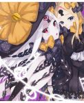 2girls :o abigail_williams_(fate/grand_order) bangs black_bow black_dress black_gloves black_hat black_panties blonde_hair blue_eyes bow butterfly closed_mouth dress dual_persona elbow_gloves fate/grand_order fate_(series) gloves hair_bow hat hat_bow himesakire_mon keyhole long_hair long_sleeves looking_at_viewer multiple_girls orange_bow panties parted_bangs parted_lips polka_dot polka_dot_bow skirt sleeves_past_wrists underwear very_long_hair violet_eyes white_skirt witch_hat