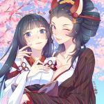 2girls 6bi ;) animal_ears bangs between_breasts black_hair blue_eyes blunt_bangs blush breasts cheek_poking cherry_blossoms cleavage collarbone comb dated fox_ears hair_ornament japanese_clothes kimono large_breasts long_hair looking_at_viewer mask mask_on_head multiple_girls obi one_eye_closed onmyoji pink_lips poking sanbi_no_kitsune sash smile sweatdrop upper_body very_long_hair violet_eyes yuki_onna_(onmyoji)