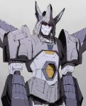 1boy 80s artist_request closed_mouth cyclonus decepticon frown horns insignia looking_at_viewer no_humans oldschool personification red_eyes simple_background solo standing transformers