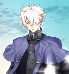 1boy armor black_armor cape fate/grand_order fate_(series) galahad_(fate) hair_over_one_eye highres male_focus orange_eyes seseragi_azuma solo white_hair