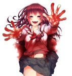 1girl :d bangs black_skirt blood blood_on_face bloody_clothes bloody_hands blush breasts empty_eyes eyebrows eyebrows_visible_through_hair eyes_visible_through_hair facing_viewer hair_between_eyes highres long_hair long_sleeves looking_at_viewer messy_hair miniskirt navel open_mouth original outstretched_arms palms plaid plaid_skirt redhead sailor_collar school_uniform serafuku shiori_(moechin) shirt sidelocks simple_background skirt small_breasts smile solo stomach tareme teeth tongue violet_eyes white_background white_sailor_collar white_shirt