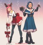 2girls animal_ears annie_mei annie_mei_project antlers bangs black_legwear blue_dress blue_eyes blue_hair blush boots box breasts caleb_thomas candy capelet choker christmas cleavage_cutout dress fake_animal_ears fake_antlers food gift gift_box glasses high_heel_boots high_heels leaning_forward lips lipstick looking_at_viewer makeup medium_breasts megan_(annie_mei_project) meme_attire mistletoe mittens multiple_girls open-chest_sweater parted_lips red_skirt reindeer_antlers semi-rimless_eyewear skirt snow standing sweater swept_bangs thigh-highs under-rim_eyewear white_sweater wrist_cuffs zettai_ryouiki