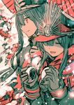 1boy 1girl :d black_hair breath brother_and_sister closed_eyes closed_mouth commentary_request dumpling eyebrows_visible_through_hair fate/grand_order fate_(series) food gloves grey_gloves hair_between_eyes hat holding limited_palette long_hair long_sleeves oda_nobukatsu_(fate/grand_order) oda_nobunaga_(fate) open_mouth peaked_cap red_scarf rioka_(southern_blue_sky) scarf siblings smile snow