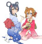 2girls alternate_hairstyle bangs blue_eyes blush braid commentary_request facepaint floral_print flower hair_between_eyes hair_flower hair_ornament hair_ribbon hair_rings japanese_clothes kimono kousaka_honoka long_hair long_sleeves looking_at_viewer love_live! love_live!_school_idol_project multiple_girls one_side_up open_mouth orange_hair ribbon seiza simple_background sitting smile sonoda_umi tetopetesone tongue tongue_out white_background wide_sleeves yellow_eyes