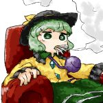 1girl black_hat blank_stare bow chair cigarette collar collared_shirt fingernails frilled_collar frills gem green_collar green_eyes green_hair green_nails green_skirt hat hat_bow hat_ribbon komeiji_koishi long_sleeves nail_polish ribbon shirt short_sleeves simple_background sitting skirt smoke smoking solo thick_eyebrows touhou white_background wing_collar yaise yellow_bow yellow_ribbon yellow_shirt