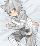 1boy animal_ears bandage bandaged_arm bandaged_leg blue_eyes censored character_censor child eyebrows_visible_through_hair fang grey_hoodie grey_shorts looking_at_viewer male_focus midriff_peek novelty_censor original shorts silver_hair slit_pupils solo tail touyama_(t3yama2) upshorts wolf_ears wolf_tail