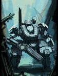 blue_eyes bottoms1237 clenched_hand extra_eyes glowing glowing_eyes gun highres holding holding_gun holding_weapon looking_down mecha no_humans original science_fiction shoulder_cannon solo standing weapon