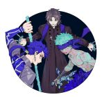 3boys aqua_hair avenger blue_hair body_markings circle fate/hollow_ataraxia fate_(series) gae_bolg glowing_markings highres kotomine_kirei lancer long_hair male_focus multiple_boys ponytail