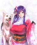 1girl 2018 animal blue_eyes breasts cowboy_shot dog floral_print fur_trim gloves highres japanese_clothes kimono large_breasts long_hair looking_at_viewer obi original purple_hair sash side_ponytail smile zucchini