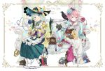 2018 2girls adapted_costume apron bird black_gloves blue_flower blue_rose boots cat commentary_request curtains ekita_xuan flower frilled_apron frills gloves green_eyes green_hair green_skirt hair_flower hair_ornament happy_new_year hat heart heart_of_string highres kaenbyou_rin kaenbyou_rin_(cat) komeiji_koishi komeiji_satori long_skirt long_sleeves looking_at_viewer multiple_girls new_year parted_lips phone phonograph pink_eyes pink_hair pleated_skirt reiuji_utsuho reiuji_utsuho_(bird) rose sandals short_hair skirt smile third_eye touhou white_background white_legwear wide_sleeves