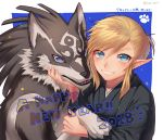 2018 animal artist_request blonde_hair blue_eyes japanese_clothes link link_(wolf) long_hair looking_at_viewer male_focus new_year smile the_legend_of_zelda the_legend_of_zelda:_breath_of_the_wild the_legend_of_zelda:_twilight_princess wolf